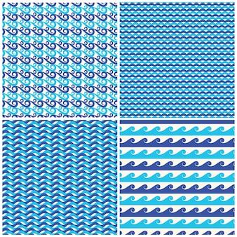 Satz vektorblau bewegt nahtlose muster wellenartig