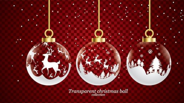 Satz vektorgold und weiße transparente weihnachtsbälle mit verzierung. glassammlung d