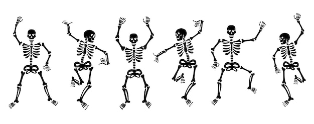 Satz vektorillustrationen von schwarzen grafischen skeletten, die energisch tanzen und spaß haben