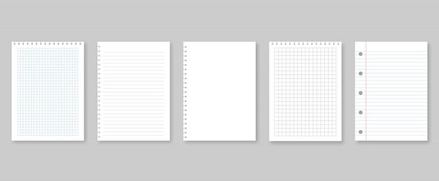 Satz vektorillustrations-blattpapier. gefüttert und quadratisch
