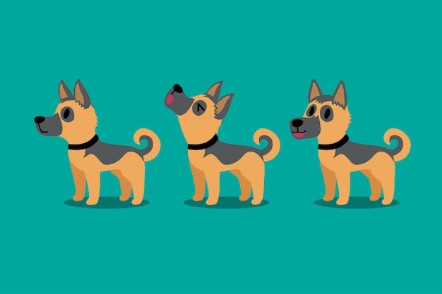 Satz vektorkarikaturcharakter deutscher schäferhund stellt auf