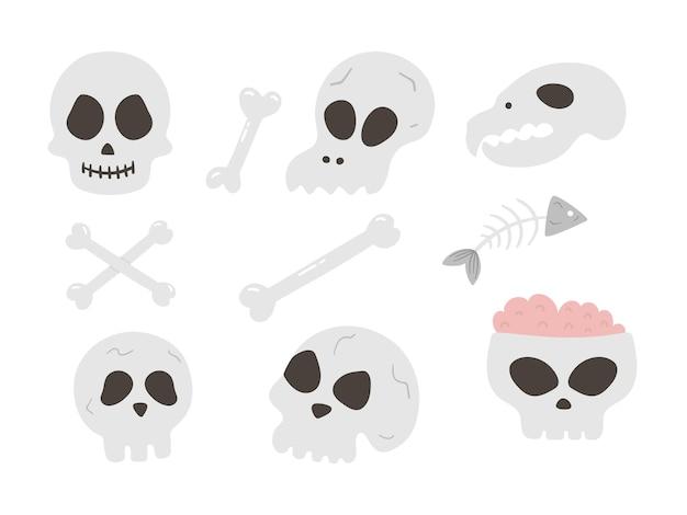 Satz vektorschädel und -knochen. halloween-partyillustration mit menschlichen und tierischen skeletten. gruseliges design für die herbst-samhain-party. allerheiligen-elemente-sammlung.