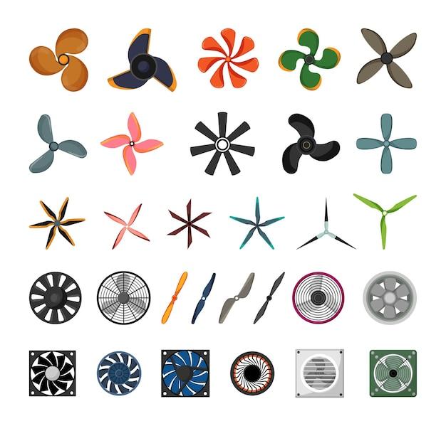Satz ventilatoren, propeller und flügel