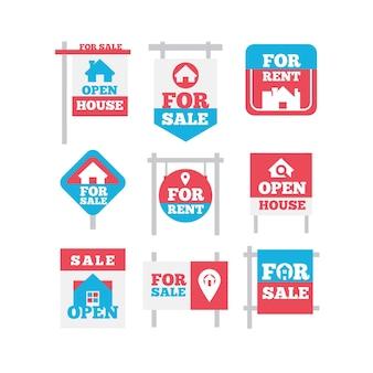 Satz verkauf immobilienschilder