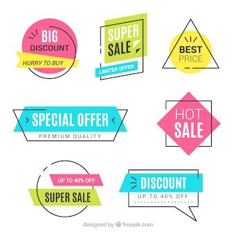 Satz Verkaufsfahnen