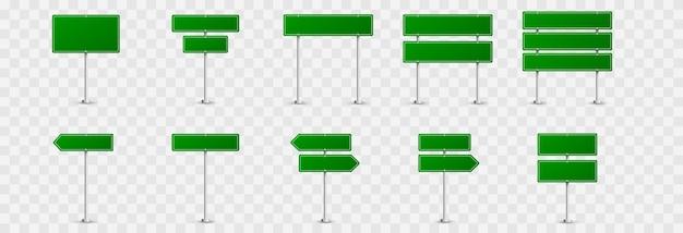 Satz verkehrszeichen. straßenschilder . grüne fahnen, verkehrszeichen, grüne zeichen.