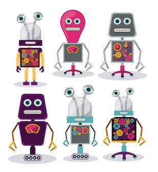Satz verrückte roboter