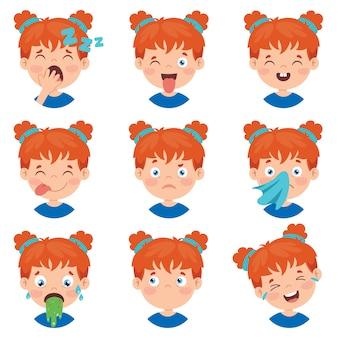 Satz verschiedene ausdrücke von kindern