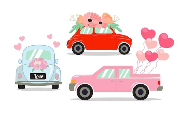 Satz verschiedene autos, die mit blumen, luftballons in herzform und rosenstrauß verziert sind.