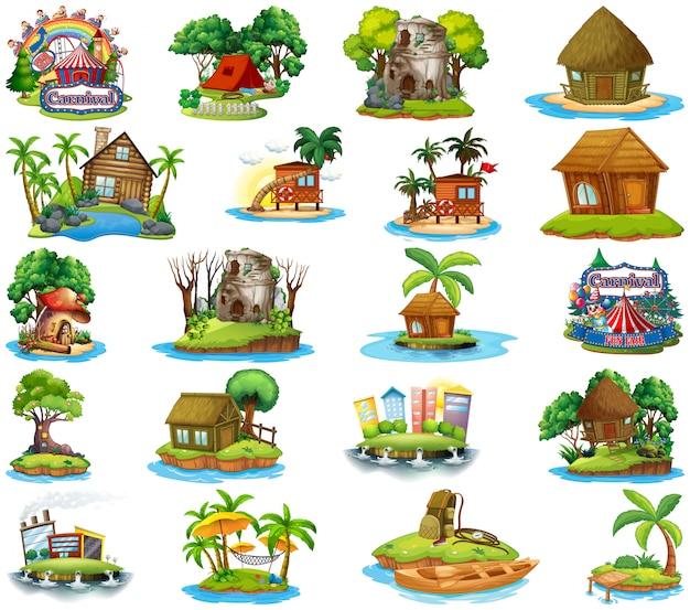 Satz verschiedene bangalows und inselstrandthema und vergnügungspark auf weißem hintergrund