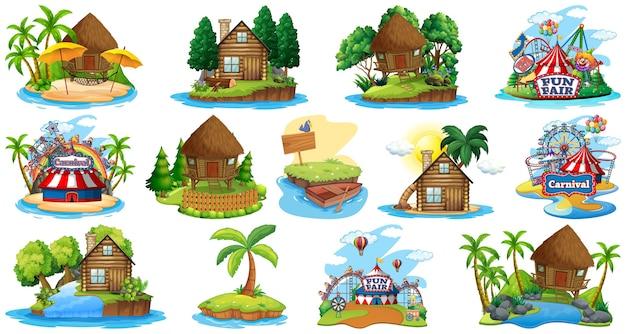 Satz verschiedene bangalows und inselstrandthema und vergnügungspark lokalisiert auf weiß