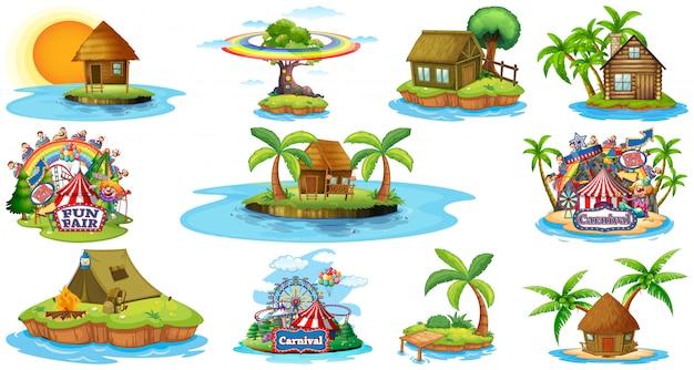Satz verschiedene bangalows und inselstrandthema und vergnügungspark lokalisiert auf weißem hintergrund