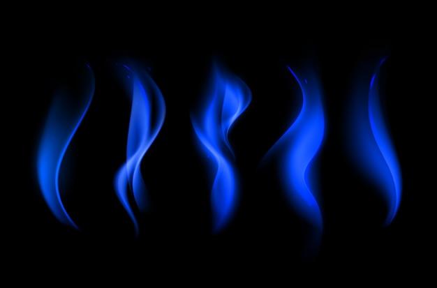Satz verschiedene blaue feuerflamme auf hintergrund