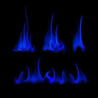 Satz verschiedene blaue feuerflammen-lagerfeuer lokalisiert auf hintergrund