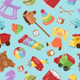 Satz verschiedene cartoon kinderspielzeugsammlung hintergrund spielerische kinder zeug. verschiedene cartoon-spielzeuge pferde, piranid, auto, ball