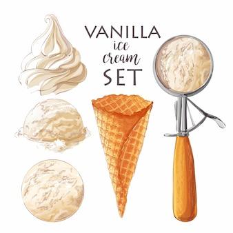 Satz verschiedene eisportionierer des aquarells in den waffelkegeln mit sortierten kugeln der vanille