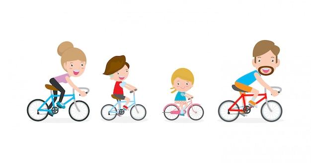 Satz verschiedene familienreitfahrräder lokalisiert auf weißem hintergrund. glückliche familie, die fahrräder lokalisiert