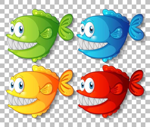 Satz verschiedene farbe exotische fischkarikaturfigur auf transparentem hintergrund