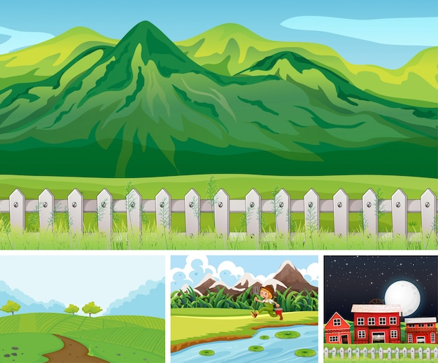 Satz verschiedene farmszenen cartoon-stil