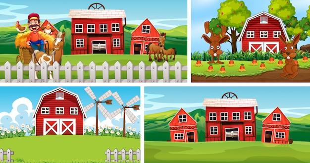 Satz verschiedene farmszenen mit tierfarm-cartoon-stil