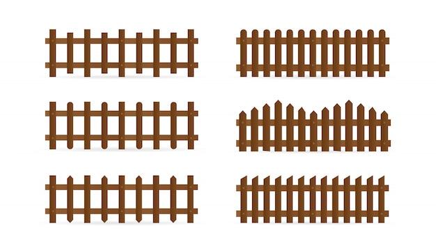 Satz verschiedene formen ländliche holzzäune. isolierte detaillierte elemente für gartenillustrationsdesign
