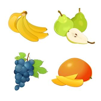 Satz verschiedene früchte mit blättern. bananen, trauben, mangos und birnen. ganze früchte und hälften