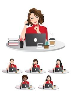 Satz verschiedene geschäftsfrauen, die am laptop arbeiten