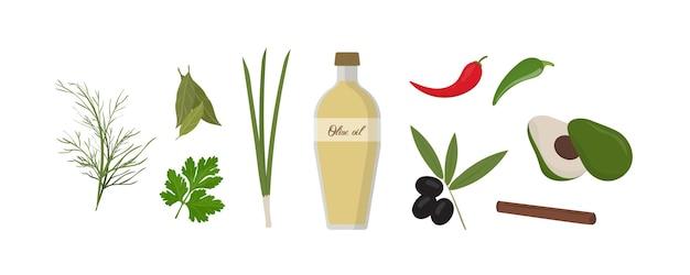 Satz verschiedene gewürze und gemüse. olivenölflasche umgeben von natürlichen grünpflanzen isoliert auf weißem hintergrund. salatzutaten und ein dressing. bunte vektorillustration im flachen stil.
