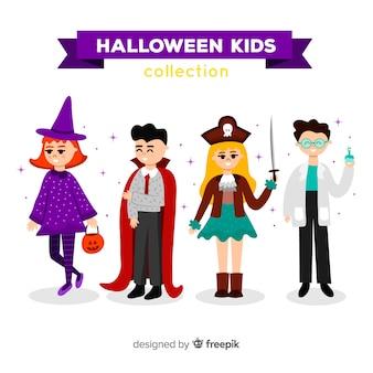 Satz verschiedene halloween-kindercharaktere