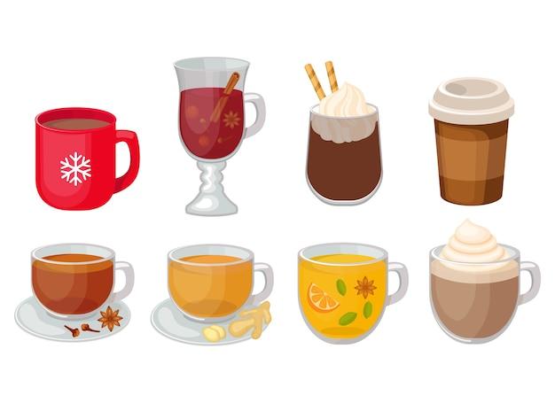 Satz verschiedene heiße getränkeillustration lokalisiert auf weißem hintergrund. kaffee, glühwein, würziger tee, heiße schokolade, ingwertee.
