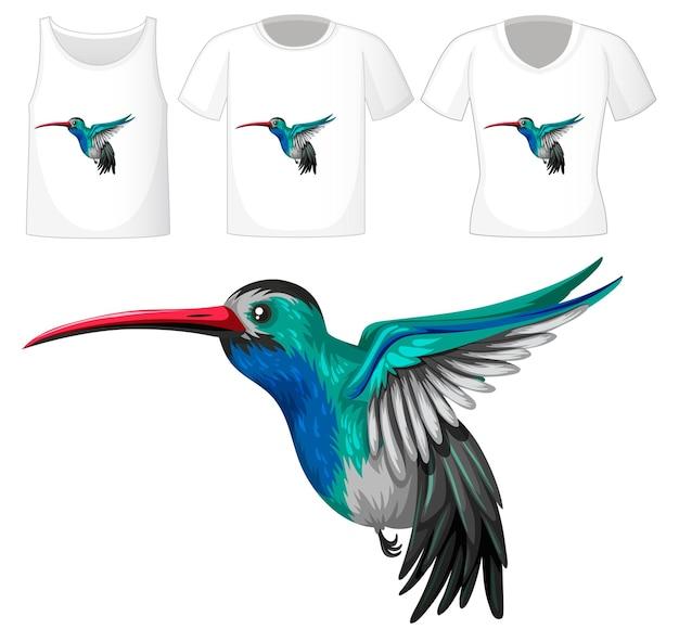Satz verschiedene hemden mit kleiner vogelkarikaturfigur lokalisiert auf transparentem hintergrund