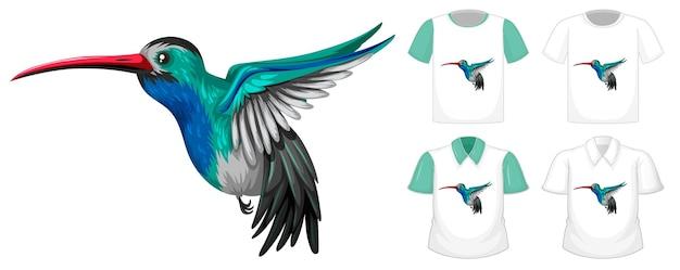 Satz verschiedene hemden mit kleiner vogelkarikaturfigur lokalisiert auf weißem hintergrund