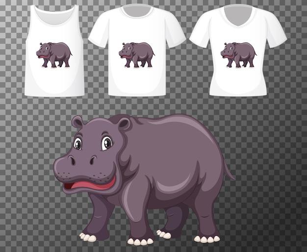 Satz verschiedene hemden mit nilpferdkarikaturcharakter lokalisiert auf transparentem hintergrund