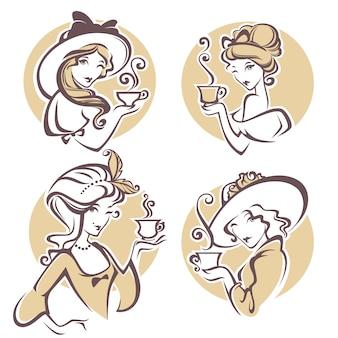 Satz verschiedene historische frauen mit tasse tee illustration