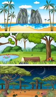 Satz verschiedene horizontale naturszenen