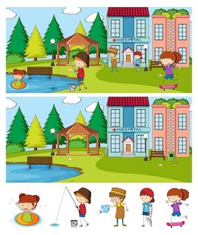 Satz verschiedene horizontale szenen mit gekritzelkinder-zeichentrickfigur
