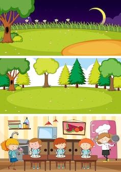 Satz verschiedene horizontale szenen mit gekritzelkinderzeichentrickfilm-figur Kostenlosen Vektoren
