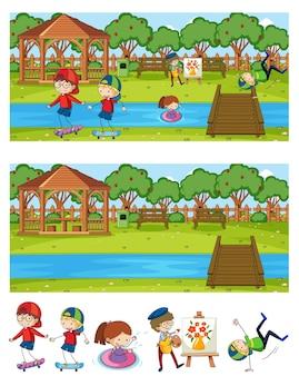 Satz verschiedene horizontale szenenhintergrund mit gekritzelkinder-zeichentrickfigur