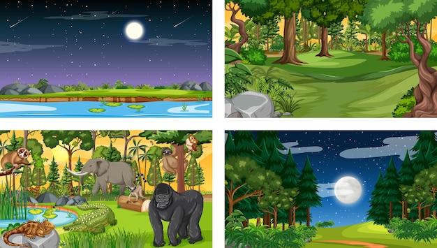 Satz verschiedene horizontale waldszene mit verschiedenen wilden tieren