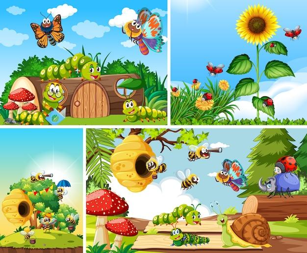 Satz verschiedene insekten, die im gartenhintergrund leben