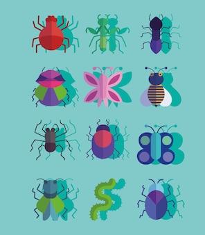 Satz verschiedene insekten oder käfer kleine tiere mit schattenartillustration