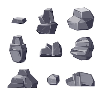 Satz verschiedene karikatur-ähnliche flusssteine lokalisiert auf weißem hintergrund