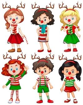 Satz verschiedene kinder, die rentierstirnband und weihnachtskostüm der roten nase tragen