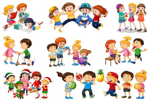 Satz verschiedene kinder spielen mit ihren spielzeugkarikaturcharakter lokalisiert auf weißem hintergrund