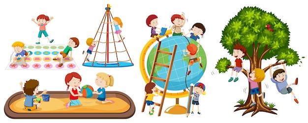 Satz verschiedene kinderaktivitäten lokalisiert auf weißem hintergrund