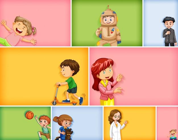 Satz verschiedene kindercharaktere auf verschiedenem farbhintergrund