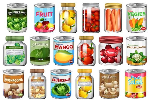 Satz verschiedene konserven und lebensmittel in gläsern isoliert