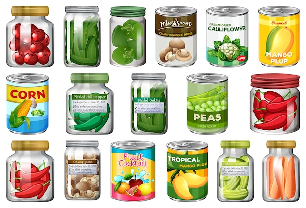 Satz verschiedene konserven und lebensmittel in gläsern isoliert Premium Vektoren