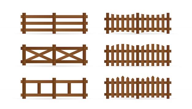 Satz verschiedene ländliche holzzäune. isolierte detaillierte elemente für gartenillustrationsdesign