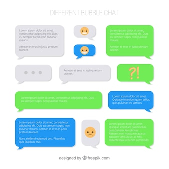 Satz verschiedene luftblasen chat für kurier-app